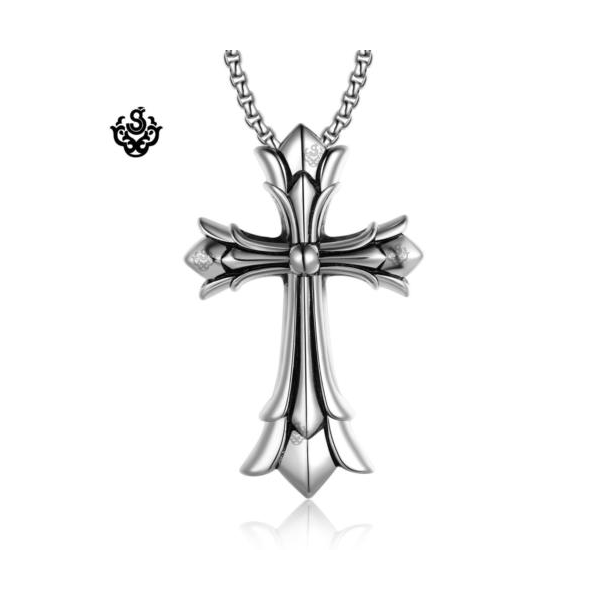 Silver cross pendant swarovski crystal stainless steel necklace soft silver cross pendant stainless steel rolo chain necklace extra large loading zoom mozeypictures Gallery