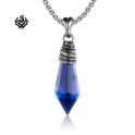 Silver leaf pendant blue cz stainless steel necklace soft gothic