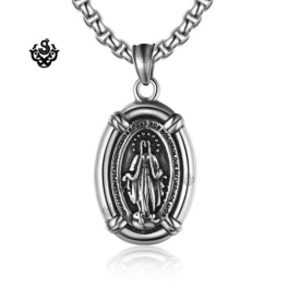 Pendants silver pendant st mary the virgin mother of jesus stainless steel necklace mozeypictures Images