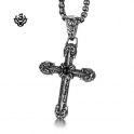 Silver cross stainless steel vintage style black onyx solid pendant necklace
