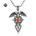 Dragon wings cross sword red swarovski crystal vintage style gothic pendant
