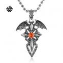Dragon wings cross sword red swarovski crystal vintage style gothic pendant