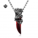 Silver dragon wine red wolf tooth pendant stainless steel chain gothic necklace