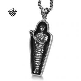 Silver cross pendant swarovski crystal stainless steel necklace silver pharaoh egyptian mummy coffin pendant stainless steel skull necklace mozeypictures Images