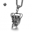 Silver pendant funky skull king crown rose stainless steel necklace