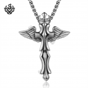 cross necklace silver crown angel wings pendant big solid soft gothic