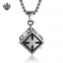 Silver cube pendant cross pattern stainless steel chain necklace soft gothic