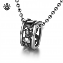 Silver skull pendant stainless steel ring ball chain necklace soft gothic