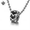 Silver round pendant ring star stainless steel ball chain necklace soft gothic