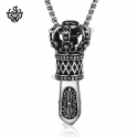 Silver crown pendant stainless steel black swarovski crystal Scepter necklace