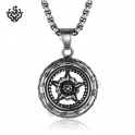 silver motor car bike wheel tyre pendant 316L stainless steel chain necklace
