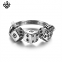 Silver lucky dice ring stainless steel band soft gothic
