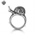 Silver snail ring solid stainless steel band 3D Soft Gothic