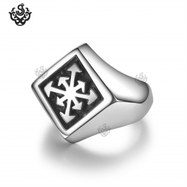 Silver cross arrow pattern ring solid stainless steel band soft gothic