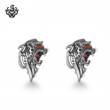 silver lion stud red eyes swarovski crystal stainless steel earrings soft gothic
