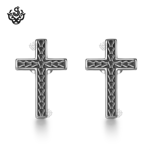 93dbb27aa Cross stud earrings solid 316L stainless steel quality pattern soft gothic.  Loading zoom