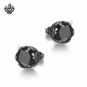 Silver earrings clear black swarovski crystal stainless steel crown stud 1.25ct