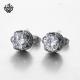 Silver earrings clear black swarovski crystal stainless steel crown stud 1.25ct