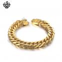 Gold bracelet biker chain chunky heavy stainless steel 225mm long 66g