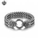 Silver cross bracelet stainless steel double chain soft gothic