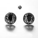 Silver stud clear black swarovski crystal earrings vintage style soft gothic