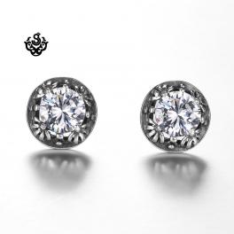 Silver stud clear black swarovski crystal earrings vintage style soft gothic