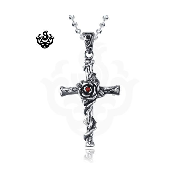Silver wild rose cross red crystal vintage style soft gothic silver wild rose cross red crystal vintage style soft gothic pendant necklace loading zoom aloadofball Choice Image