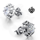 Silver stud clear swarovski crystal earrings soft gothic 0.75ct