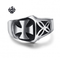 Silver ring celtic cross stainless steel stereo anaglyph band