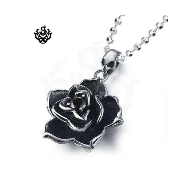 Silver rose pendant black swarovski crystal stainless steel silver rose pendant black swarovski crystal stainless steel necklace loading zoom aloadofball Gallery