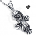 Snake cross clear simulated diamond crystal silver soft gothic pendant necklace