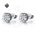 Simulated diamond crystal silver stainless steel soft gothic stud earrings 1.5ct