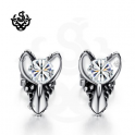 Silver stud clear swarovski crystal earrings soft gothic 0.25ct