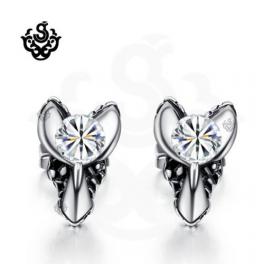 Silver stud clear swarovski crystal earrings soft gothic 0.25ct