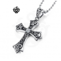 skulls cross simulated diamond silver stainless steel titanium gothic pendant