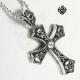 skulls cross simulated diamond silver stainless steel titanium gothic pendant
