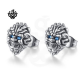 lion studs blue crystal silver stainless steel titanium soft gothic earrings