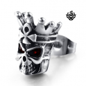 Silver stud swarovski crystal stainless steel king skull single earring