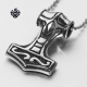 Silver Thor's Hammer pendant stainless steel doubleside necklace