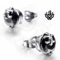 Silver earrings black swarovski crystal round stud soft gothic 1.25ct