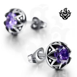 Silver earrings purple swarovski crystal stainless steel stud 0.75ct