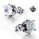 Silver stud clear swarovski crystal earrings soft gothic 1.25ct