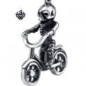 Silver kid on the bicycle skull pendant stainless steel necklace 3D small