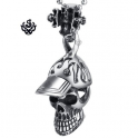 Silver skull in baseball cap pendant stainless steel 3D necklace soft gothic