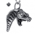 Silver cobra pendant stainless steel celtic necklace soft gothic