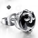 Silver stud black swarovski crystal round SINGLE earring soft gothic 1.25ct