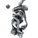 Silver Requiem Alien Warrior pendant stainless steel 3D necklace