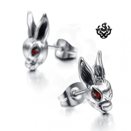 Silver earrings red swarovski crystal rabbit stud soft gothic