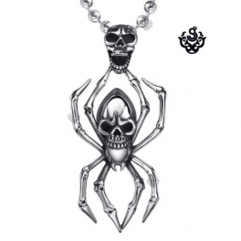 Silver skull spider pendant stainless steel necklace soft gothic