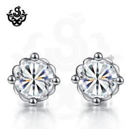 Silver stud clear swarovski crystal earrings vintage style 2ct